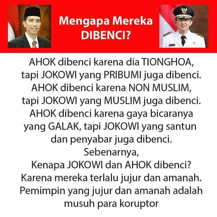 Mengapa Jokowi Ahok dibenci? Ini jawabannya. Makjleb banget https://t.co/vTbwziEt7t