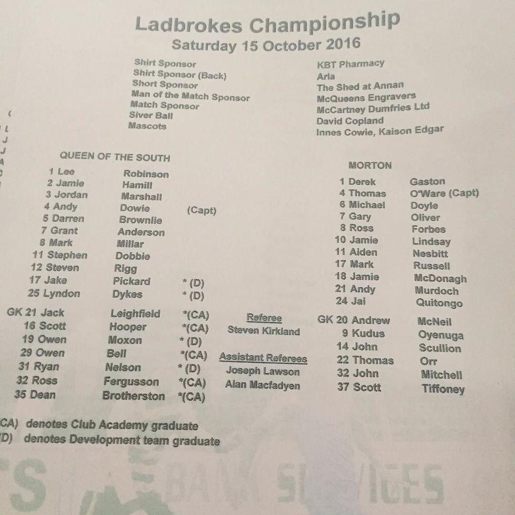 Team sheet for fixture against Greenock Morton. https://t.co/qEZXCsCLHT https://t.co/1Kbqwq7uaa
