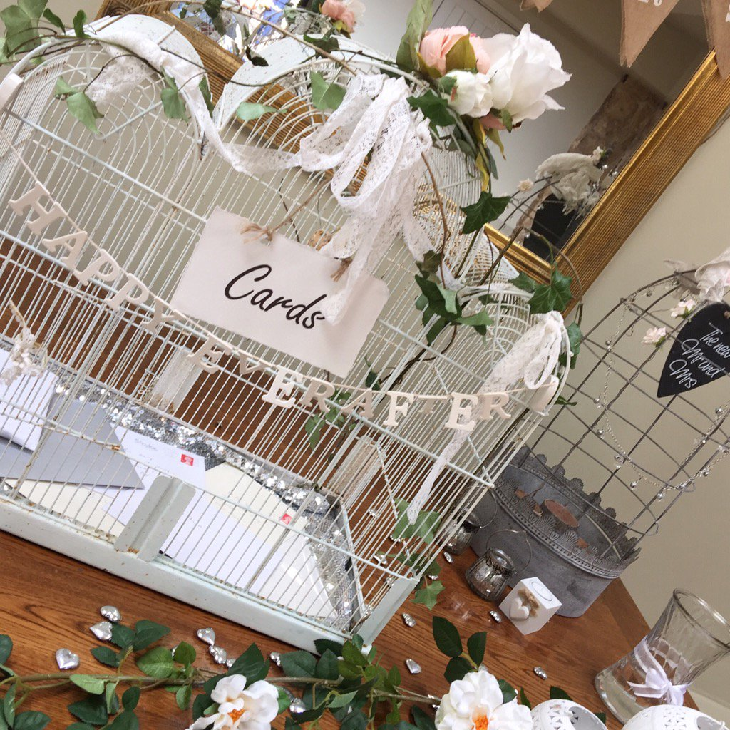 Great idea - keep your #wedding #cards in a #birdcage! Looks pretty too @LoseleyPark @Loseleyevents #weddingday