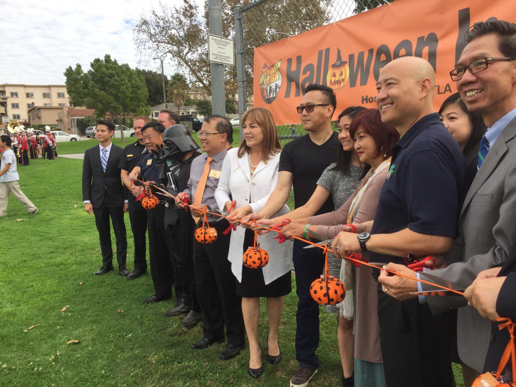 Sanchez attends her second ribbon cutting of the day, this time for Halloween in the Park in Monterey Park. (Phil Willon / Los Angeles Times)