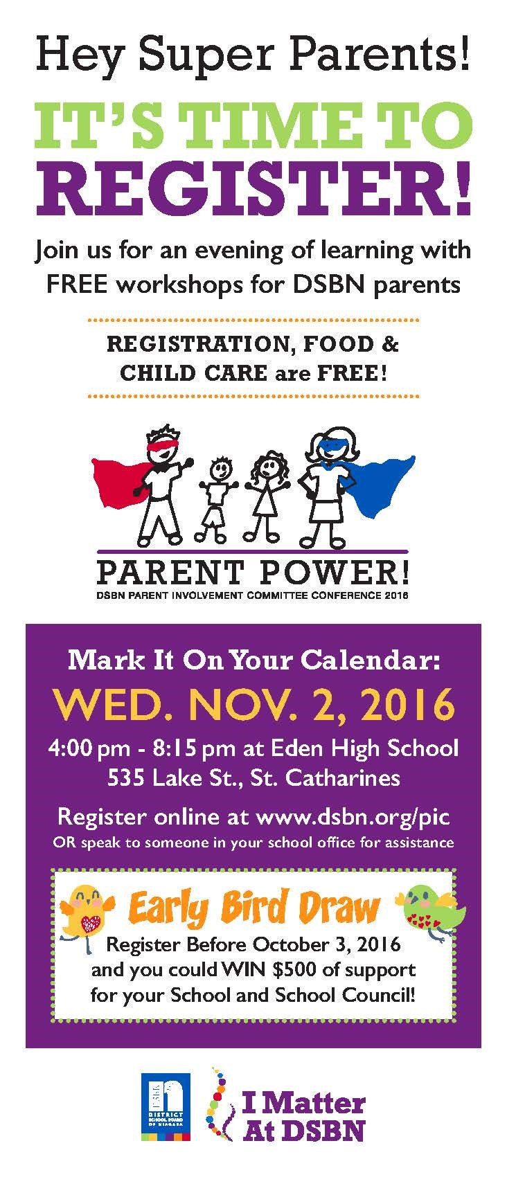 All DSBN Parents are invited to our FREE PIC on Nov 2 from 4:00 to 8:15 pm at Eden HS. Visit our DSBN website https://t.co/CmHILY4rK9 https://t.co/J56tQOaFlx