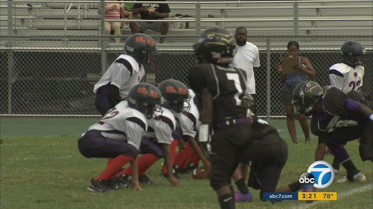 LAPD officers coach South LA youth football team, Watts Bears, while on duty
