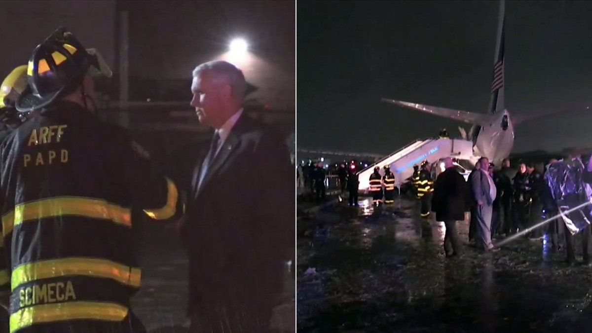 shows Republican VP candidate Mike Pence after his plane slid off a NYC runway