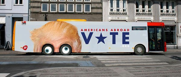 Danes encourage Americans abroad to vote with spinny-eyed Trump bus ad