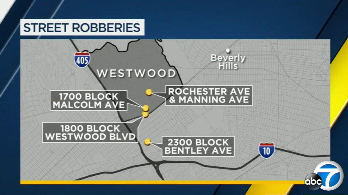 String of armed muggings hit Westwood, West LA in one night