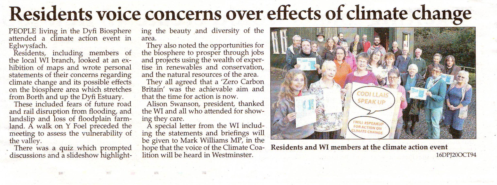Read the @CambrianNews article about the fantastic #SpeakUp event in Ceredigion here! Will @mark4ceredigion #SpeakUp for #climatechange? 🌏 https://t.co/ATm3u6pfq5