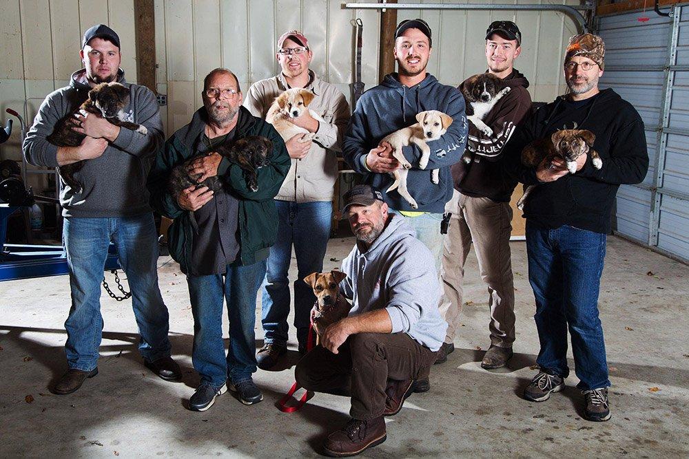 Michigan men adopt stray dog, puppies at bachelor party.