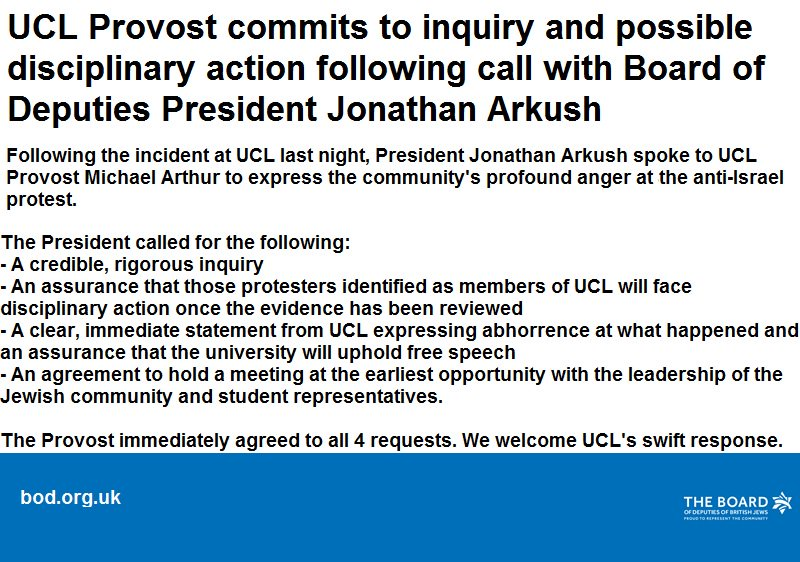Following a call between @UCL Provost and @BoDPres, we are releasing the following statement: https://t.co/i3mDmuy5Jl