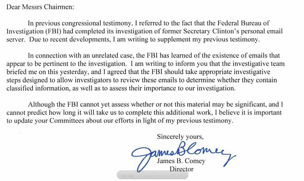 FBI Director James Comey's message to congressional leaders.
