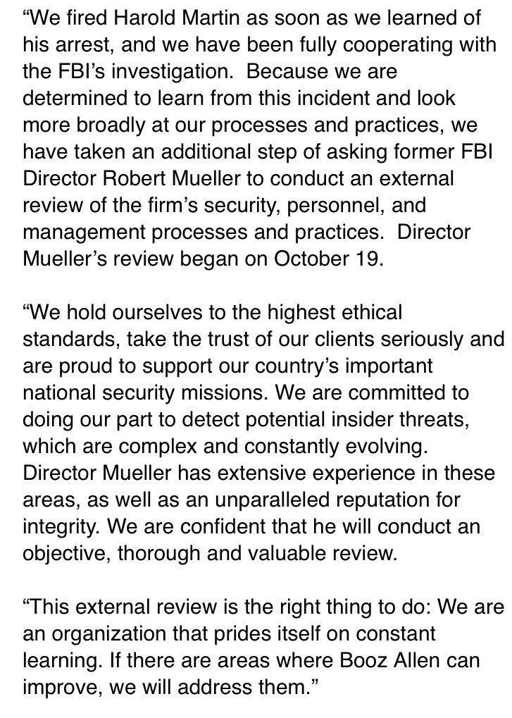 Statement from Martin's former employer Booz Allen Hamilton @cbsbaltimore