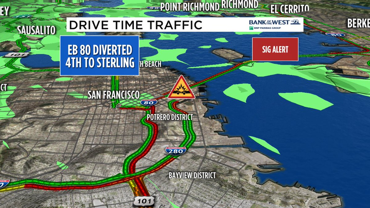 EB 80 update- now the 2 right lanes are open near 1st St, major backup on NB 101. BART or stay home!
