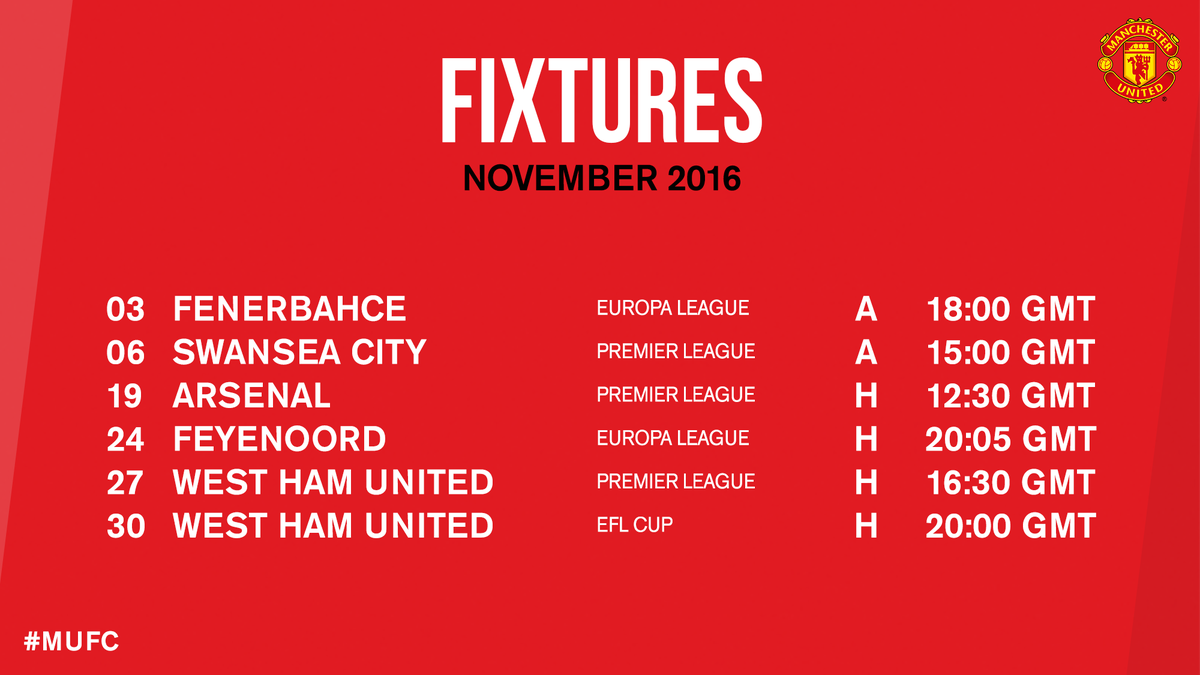 A look at what's coming up for #MUFC in November...