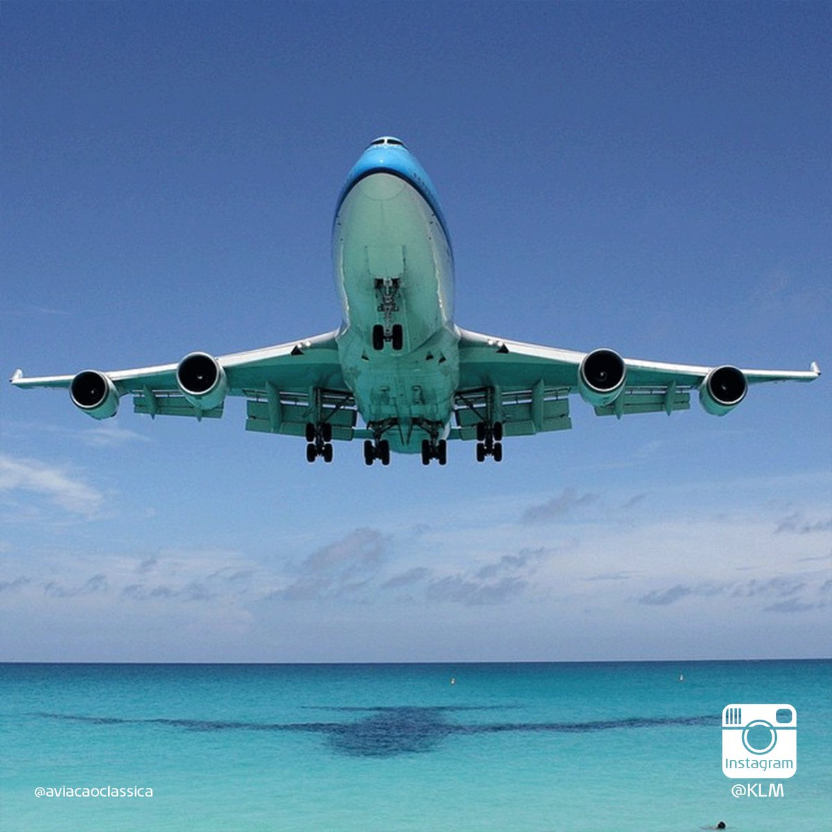 KLM Boeing 747 makes its final iconic landing over the beach on Sint Maarten