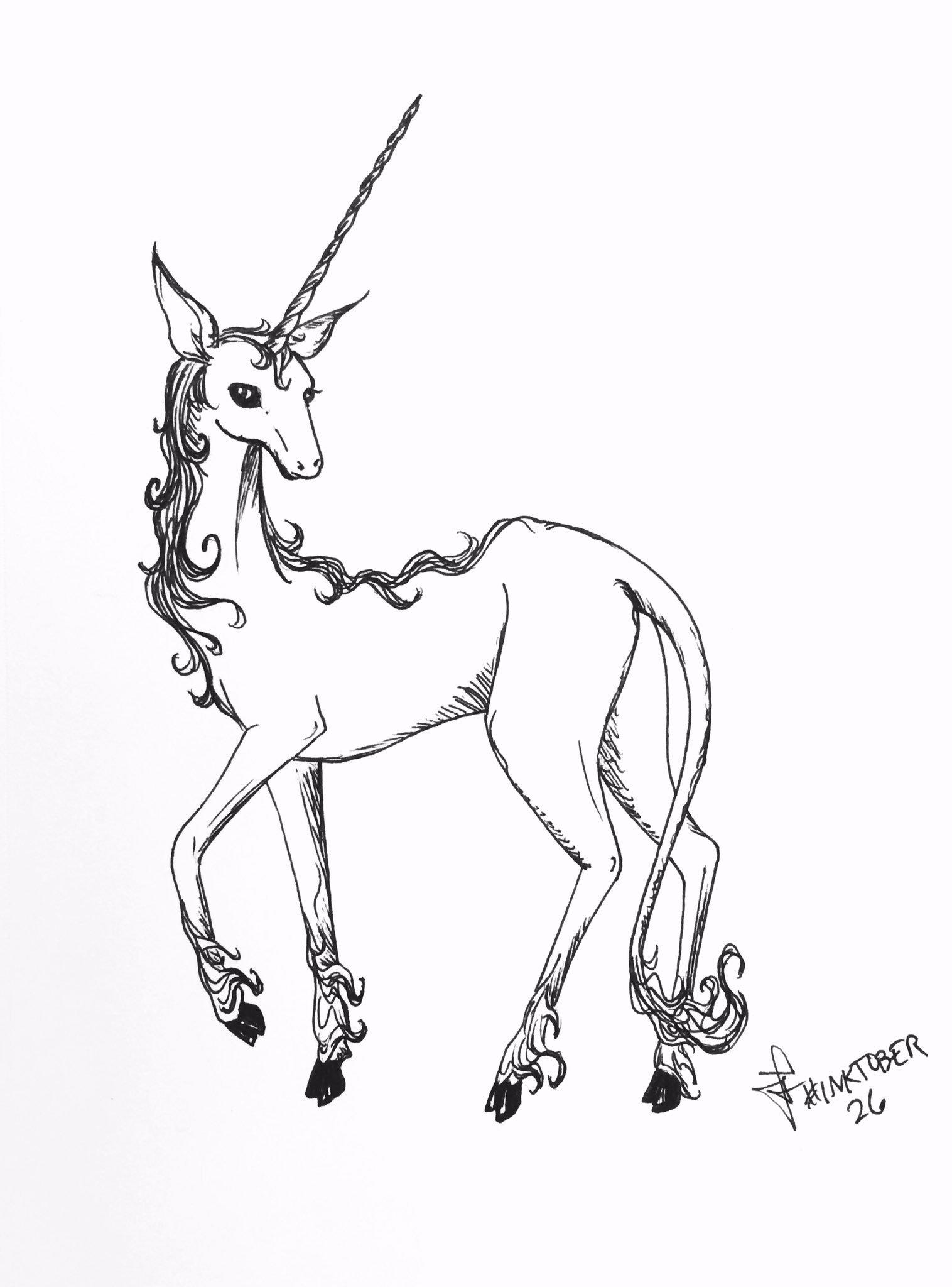 #inktober 26: a tribute to The Last Unicorn 🦄💜 #unicorn #sketch #fanart #FanArtFriday https://t.co/RKs5gj000d