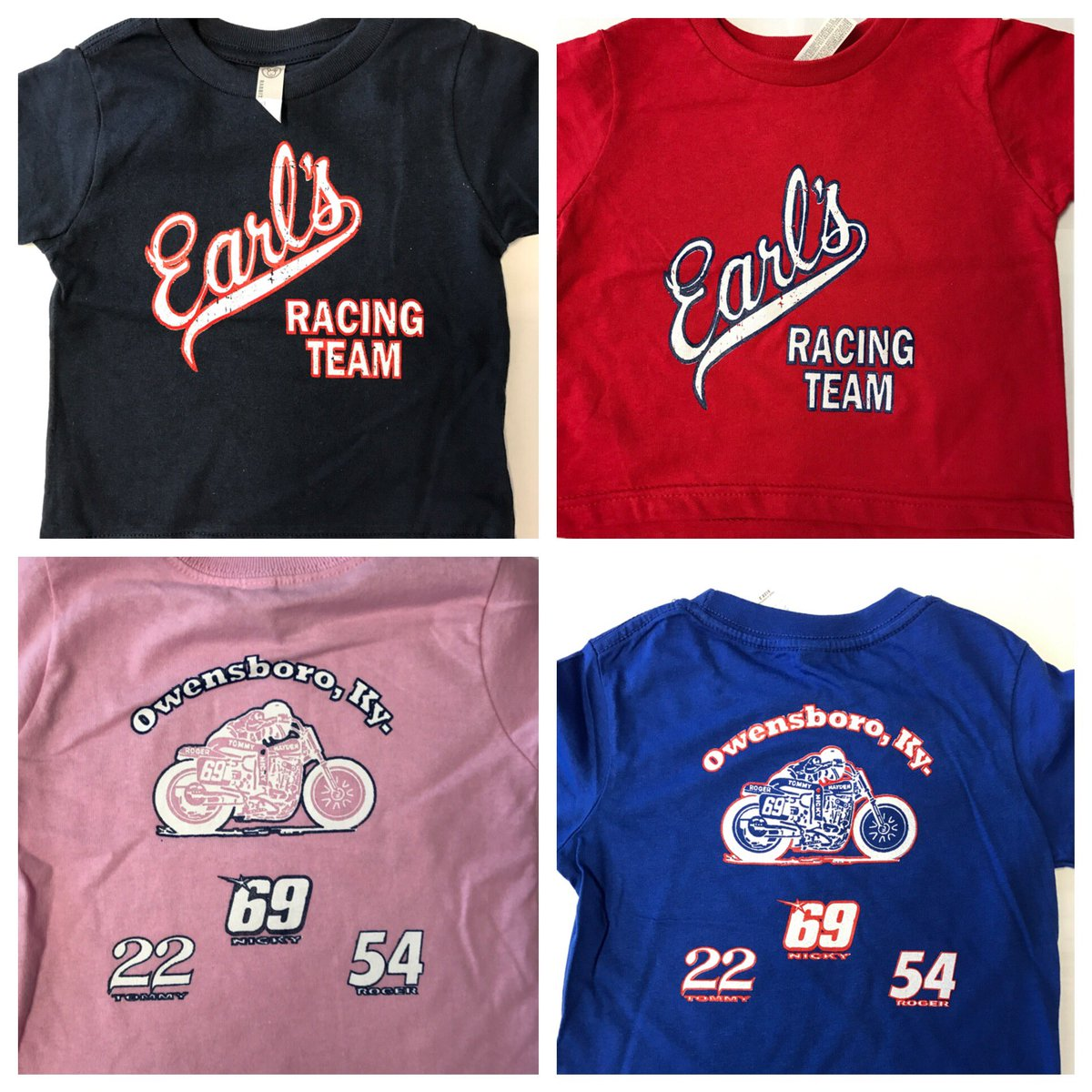 New kids Earl's Racing Team shirts now available! Colors: Red, Blue, Navy or Pink. Sizes: 2T, 3T, 4T and 5-6.