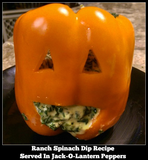 Ranch Spinach Dip Served In Jack-O-Lantern Peppers
