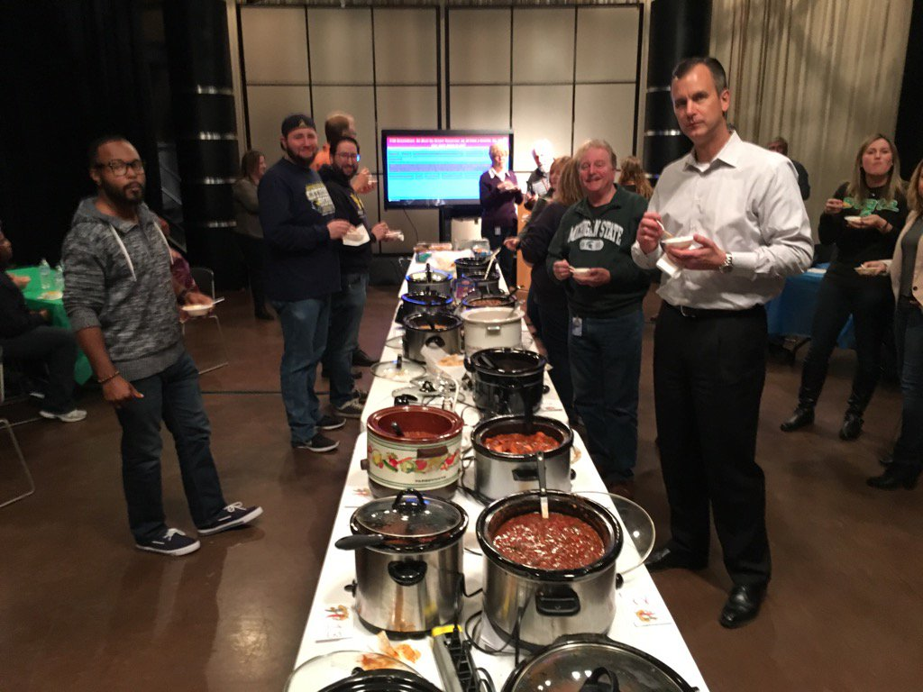 Our annual @wxyzdetroit UM/MSU chili cook-off is underway! All money is benefitting our children's book drive!