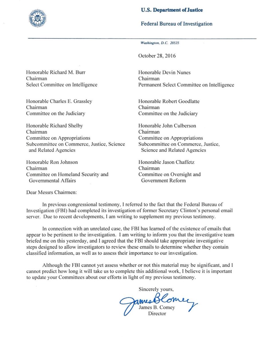 What The Fbi Director S Letter About The Clinton Emails