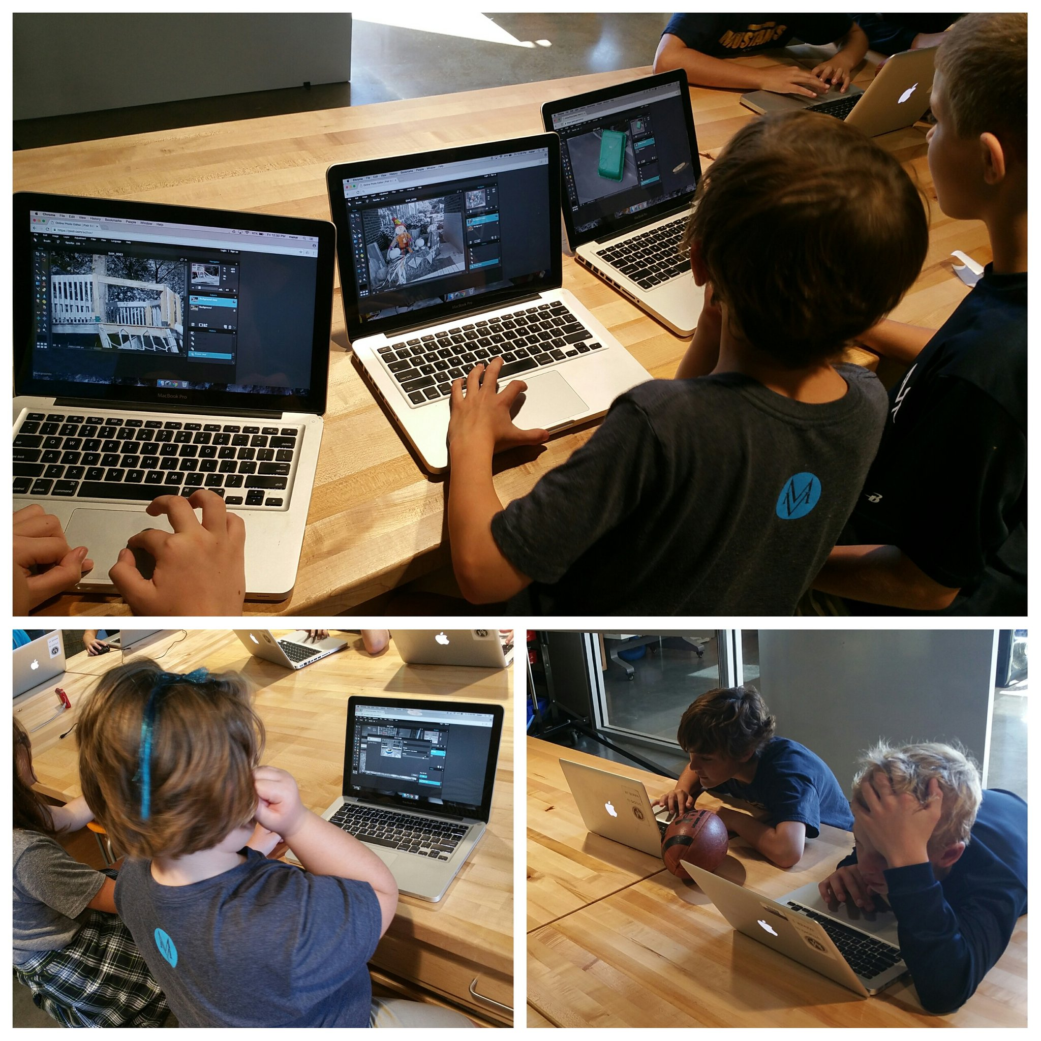 """""""Craftsmanship takes concentration Mr. Tiffin."""" #kidquote Gr4 starts the editing part of their color splashes #MakerEd #elemaker #MVPSchool https://t.co/kcJxlXKMF7"""