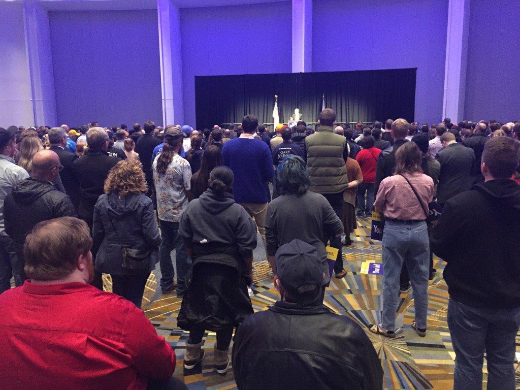 Crowd for gary johnson in detroit got bigger.