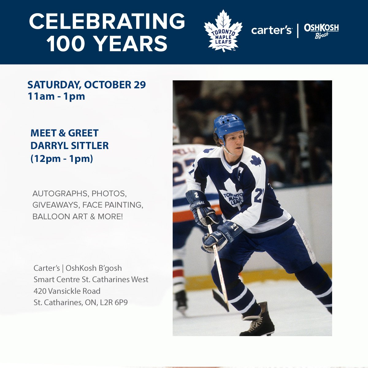 Toronto maple leafs on twitter meet leafs alum darryl sittler at toronto maple leafs on twitter meet leafs alum darryl sittler at carters oshkoshbgosh in st catharines tomorrow from 12 1pm tmltalk m4hsunfo