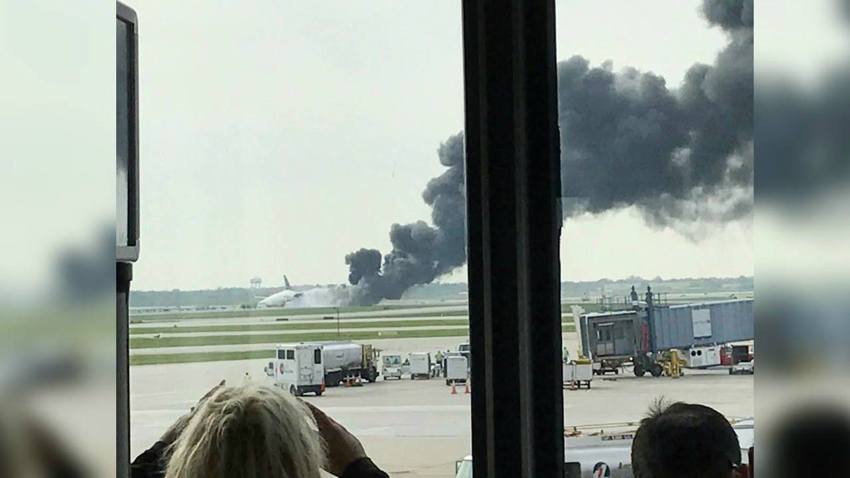 Airplane at O'Hare catches fire right before takeoff