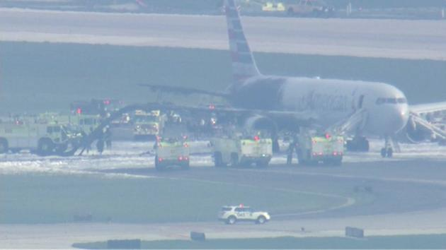American Airlines plane engine catches fire at Chicago's O'Hare airport
