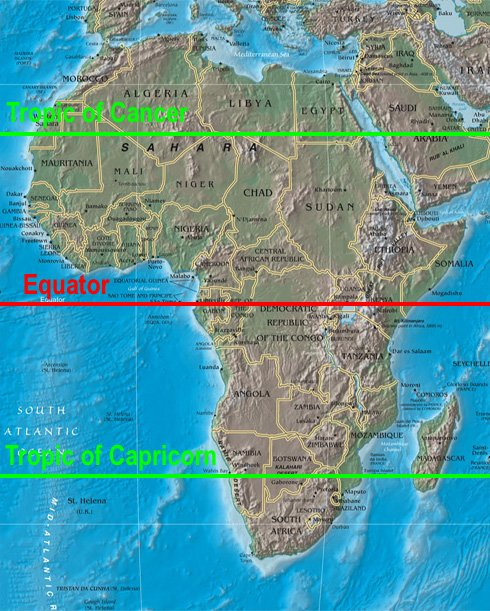 africa map and equator