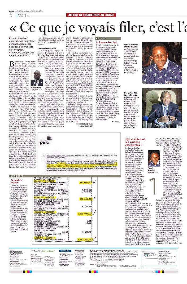 corruption au congo  les preuves qui accablent le r u00e9gime