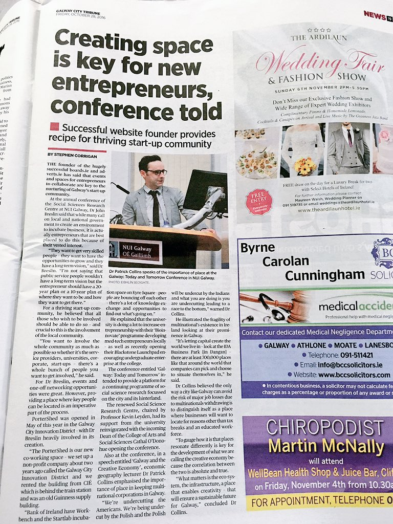 stephen corrigan stephencorriga twitter creating space is key for new entrepreneurs conference told > thanks for the coverage of my recent talk ctribune