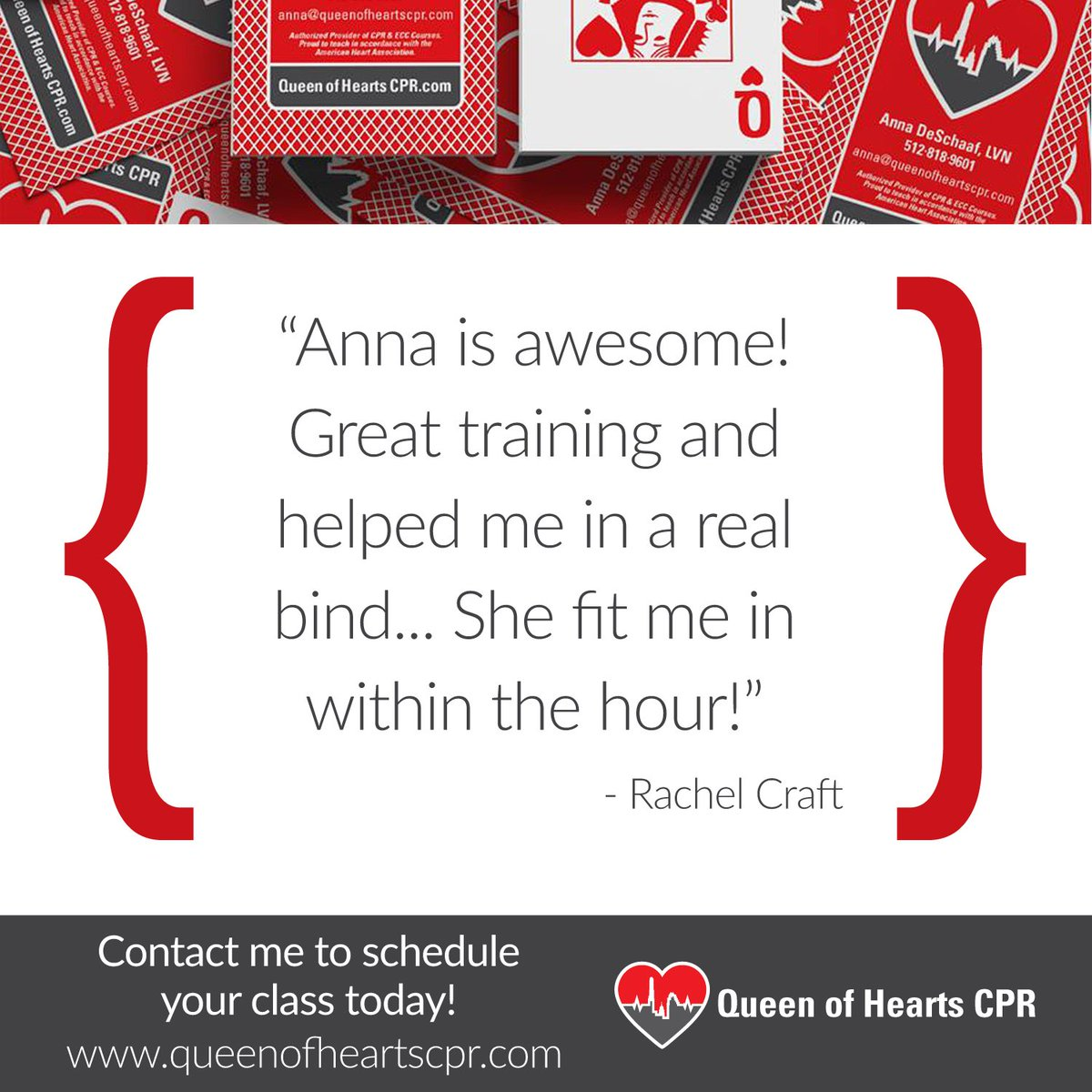 Queen of hearts cpr queenheartscpr twitter great training and helped me in a real bind kindwords testimonial learncprpicitterkybe4rxvcp xflitez Choice Image