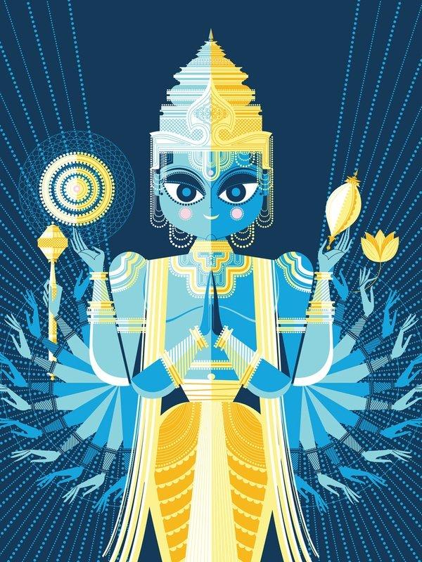 6. El segundo dios es Vishnu, cuya labor es preservar la existencia de las cosas. Para hacerlo baja a la Tierra reencarnado en avatares. https://t.co/qqUnQHSRqM