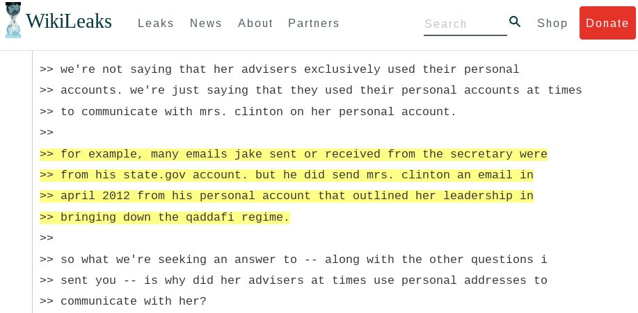 Clinton's most emailed aid in the US State Department, Jake Sullivan, used personal email to talk with Clinton about bringing down Libya.