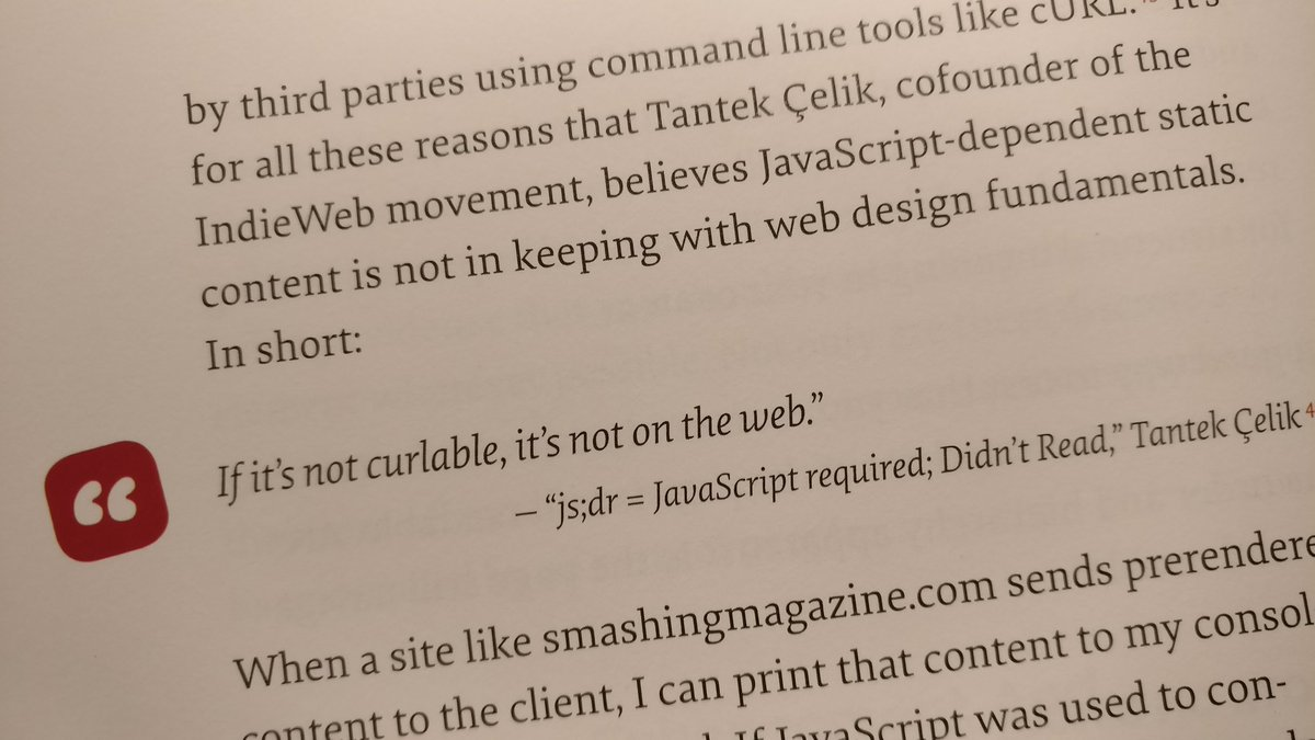 "photo of print material quoting from Tantek's js;dr article: ""If it's not curlable, it's not on the web."""