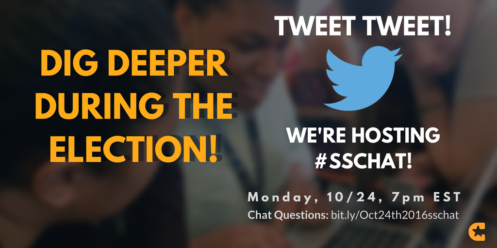 """Dig Deeper During The Election"" Join Us! We're hosting #sschat Next Monday! Chat questions: https://t.co/yeonjd98hP #EducateToParticipate https://t.co/2N6BV5jwf6"