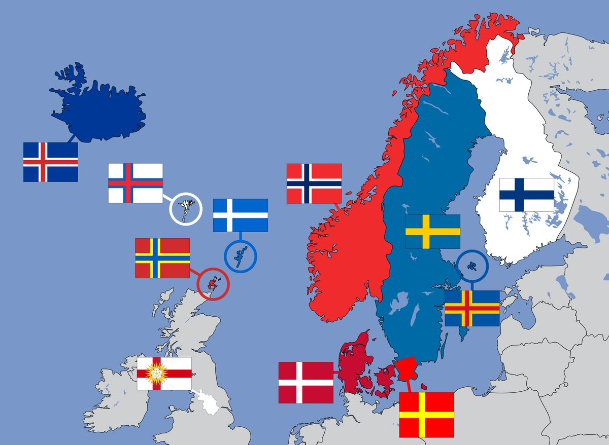 Nordic Europe Map.Amazing Maps On Twitter Nordic Cross Flags Of Northern Europe