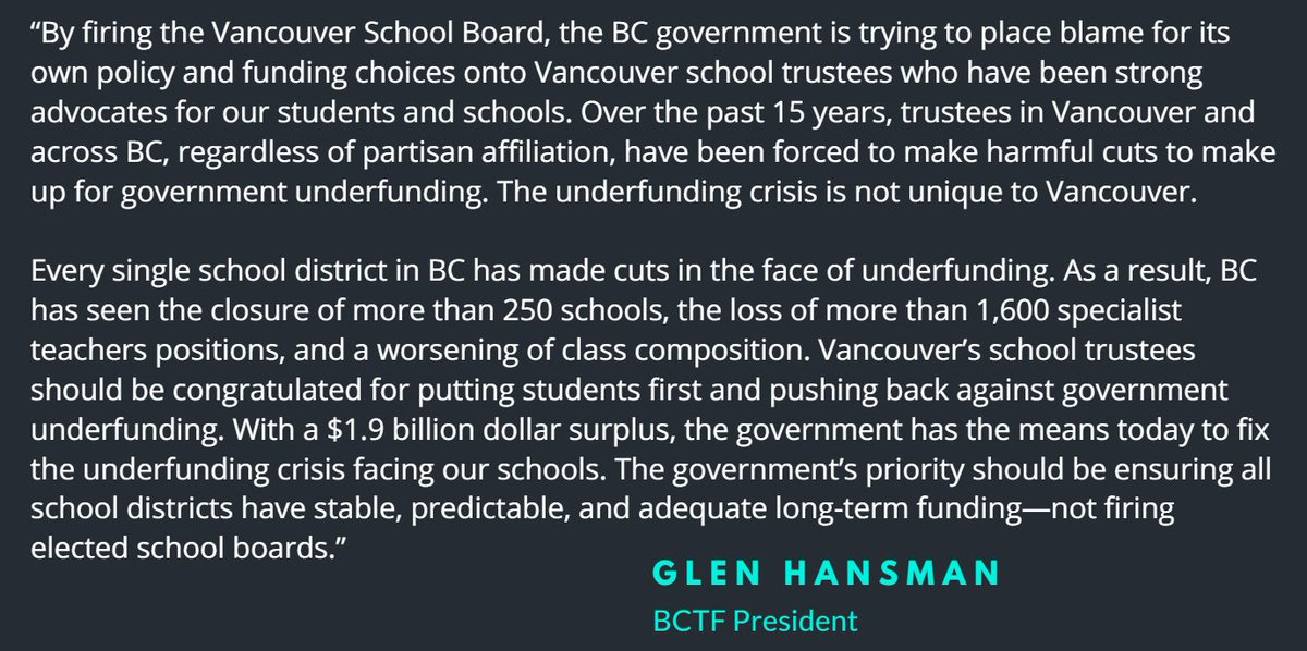 President @glenhansman's reaction to the firing of @VSB39 trustees by #bcpoli government. #bced https://t.co/PBqPMVdx22
