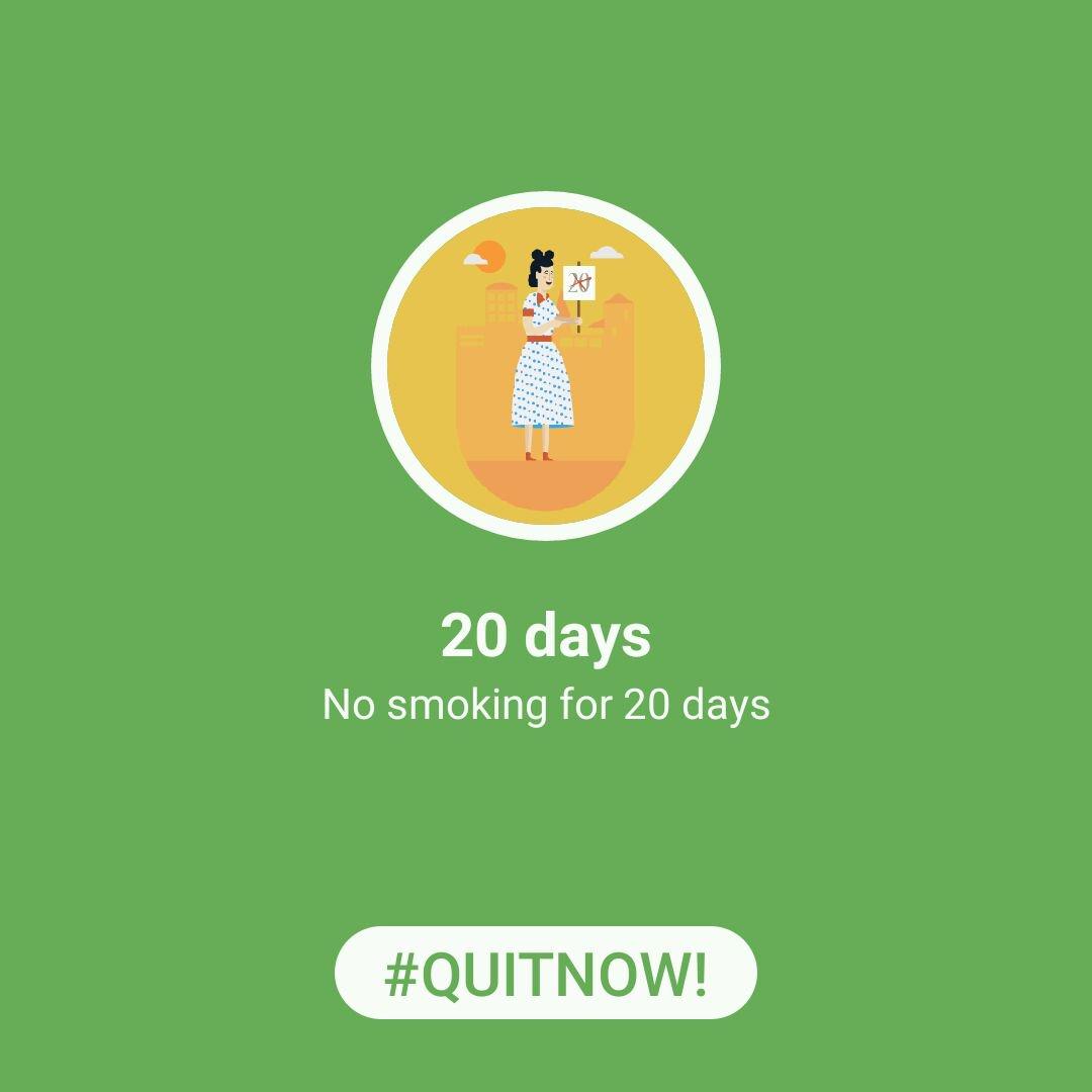 #QuitNowApp Achievement unlocked: 20 days - No smoking for 20 days via  @quitnowapp http://quitnowapp.com/download pic.twitter.com/HSid8IgFO5