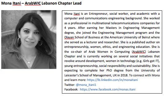 9. Mona Itani , #ArabWIC  leader of Lebanon chapter,and #QCRI #GHC16 scholar  Congratulation Mona! #womenintech https://t.co/S8LRBNcAF7