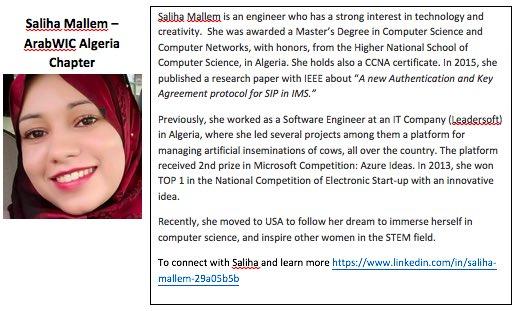 10. Saliha Mallem, #ArabWIC leader of Algeria chapter,and #QCRI #GHC16 scholar  Congratulation Saliha! #womenintech https://t.co/EPqhnGfOmC