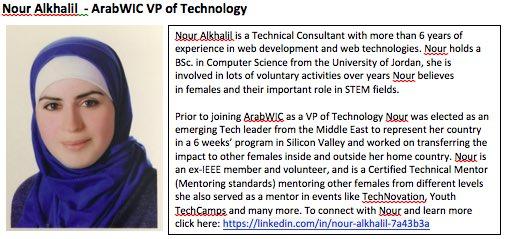 1. Nour Alkhalil, #ArabWIC VP of technology and expert in web development. #QCRI #GHC16 scholar   #womenintech Congratulations Nour! https://t.co/UIurReIG8q