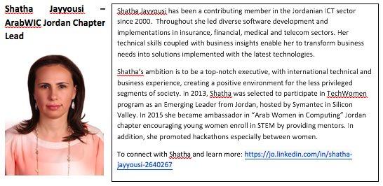2. Shatha Jayyousi, #ArabWIC  leader of Jordan chapter,and #QCRI #GHC16 scholar  Congratulation Shatha! #womenintech https://t.co/QZTH9jh5WK