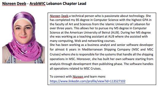 4. Nisreen Deeb, #ArabWIC leader of  Lebanon chapter,and #QCRI #GHC16 scholar  Congratulation Nisreen! #womenintech https://t.co/ZJwz92u8lD