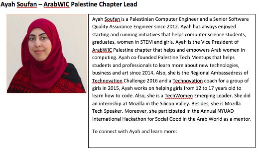 3. Ayah Soufan, #ArabWIC  leader of  Palestinian,and #QCRI #GHC16 scholar  Congratulation Ayah! #womenintech https://t.co/GWj69cIRkW
