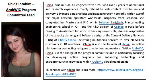 5. Ghida Ibrahim, #ArabWIC VP of programs, and #QCRI #GHC16 scholar  Congratulation Ghida! #womenintech https://t.co/mEc2y2QXd4