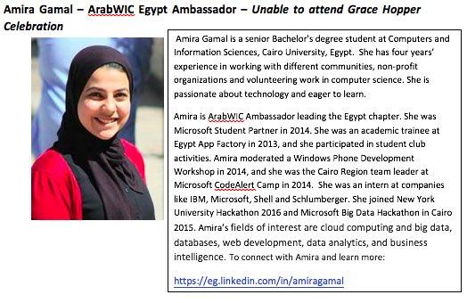 8. Amira Gamal, #ArabWIC leader of Egypt chapter,and #QCRI #GHC16 scholar  Congratulation Amira! #womenintech https://t.co/uYFGSVpx2u