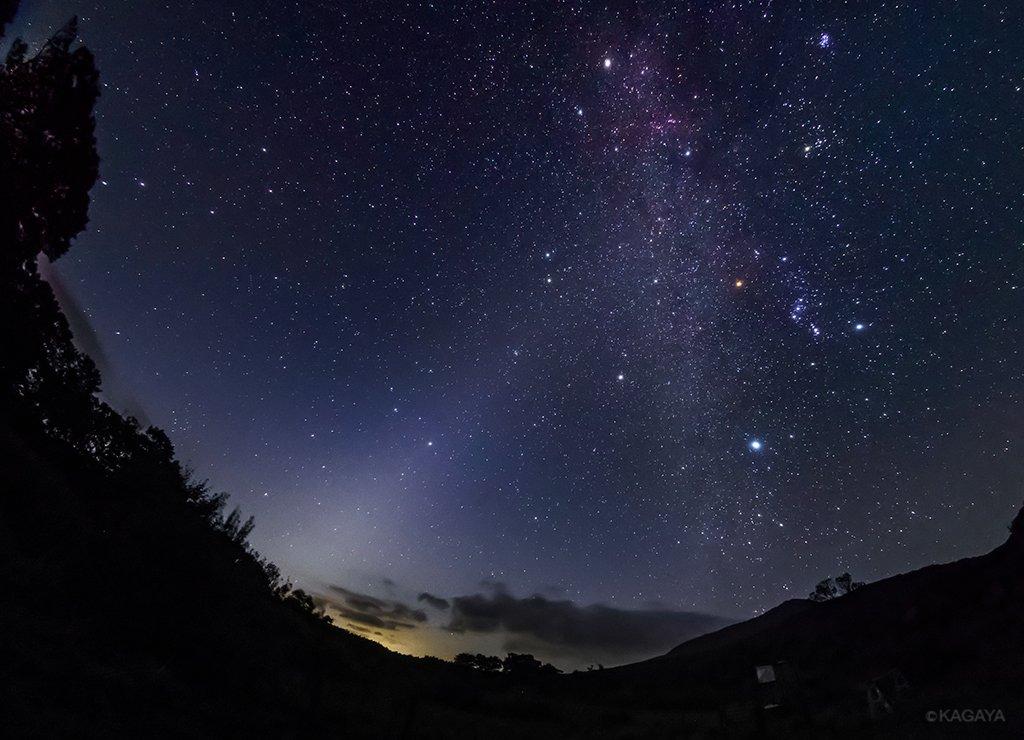 東の空の黄道光、それはまもなく夜が明ける知らせです。秋は夜明けの黄道光が見やすいシーズン。天の川が見える場所なら肉眼で見えます。黄道光の中には早くも春の星座たちが登場。写真左下から右上に伸びる光が黄道光、縦の帯が天の川、下の黄色い光は街灯りです。(先日青森県にて撮影) pic.twitter.com/MvJgaRx4fP