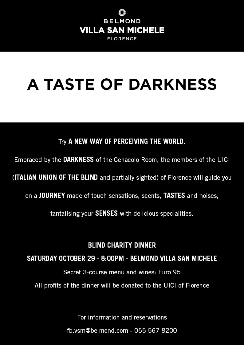 """A special """"Dinner in the Dark"""" charity dinner will be happening this Oct 29th at @villasanmichele in #Florence https://t.co/RtLMQVMQSw https://t.co/rmerb9YPfl"""