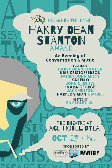Dear Twitter Friends, get tickets for @VidiotsVideoLA's tribute to my friend Harry Dean Stanton at @theatre_acedtla https://t.co/g5cX4QWOV7