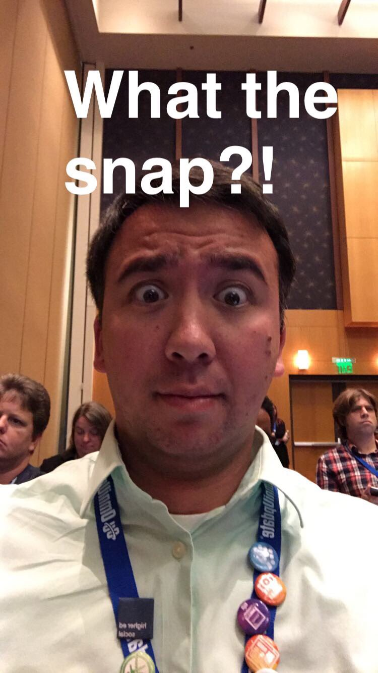 Time to suck it up and use snapchat. #mcs10 #heweb16 https://t.co/57qfKjDUV5